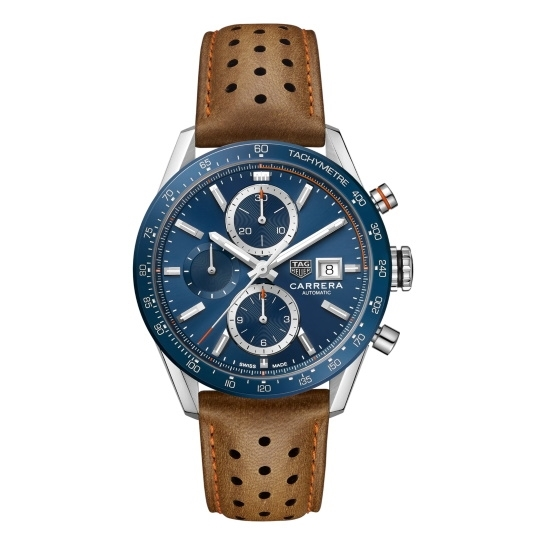 Picture of TAG 41mm Calibre 16 Chronograph with Brown Leather & Blue Dial