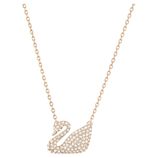 Picture of Swarovski Pave Swan Necklace - Rose Gold