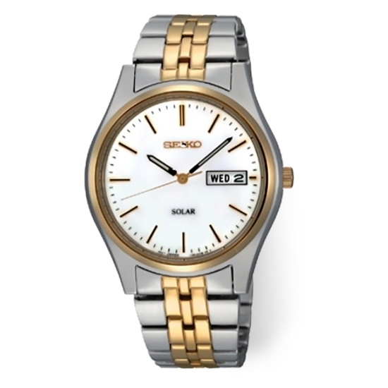 Picture of Seiko Men's Two-Tone Solar Watch with White Dial