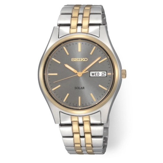 Picture of Seiko Men's Solar Two-Tone Watch with Charcoal Dial