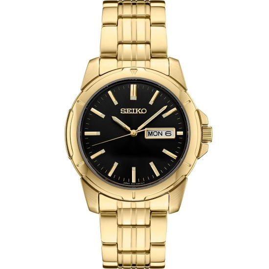 Picture of Seiko Men's Essential Gold-Tone Watch with Black Dial