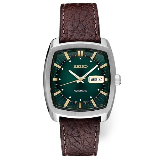 Picture of Seiko Men's Recraft Watch with Green Dial & Brown Strap