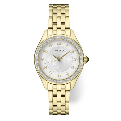 Picture of Seiko Ladies' Crystal Gold-Tone Watch with Patterned Dial