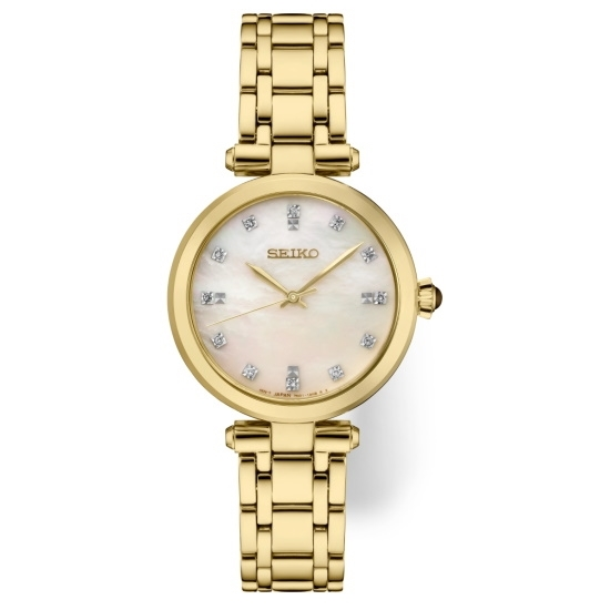 Picture of Seiko Ladies' Diamond Gold-Tone Watch with MOP Dial