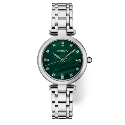 Picture of Seiko Ladies' Diamond Stainless Steel Watch with Green Dial