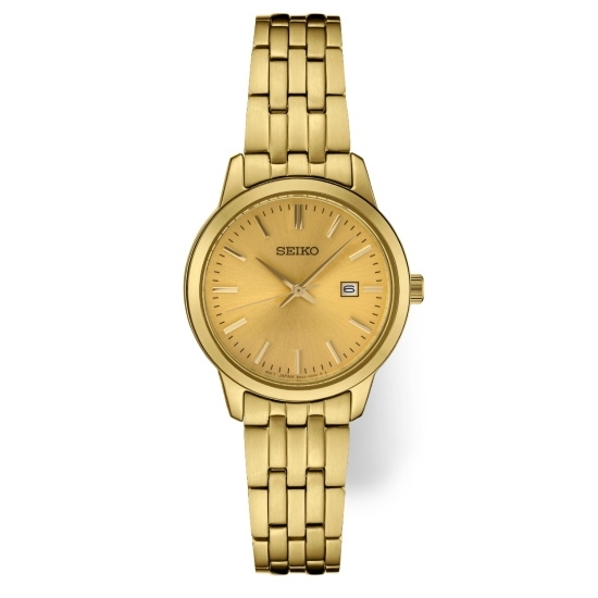Picture of Seiko Ladies' Essential Gold-Tone Watch with Champagne Dial