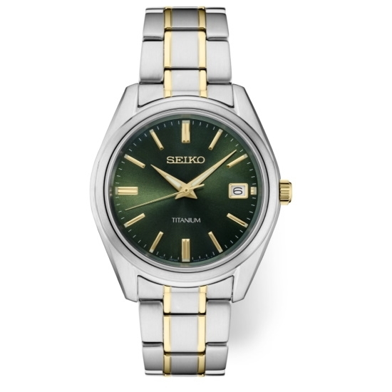Picture of Seiko Men's Essential Two-Tone Titanium Watch with Green Dial