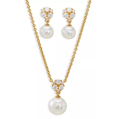Picture of Nadri Camilia Pearl Earring & Necklace Set - Gold