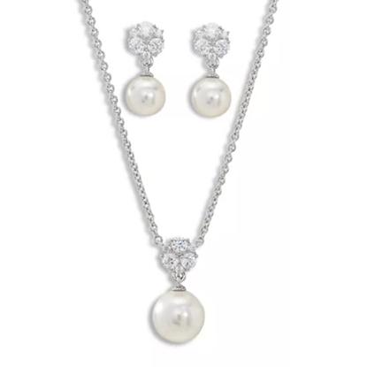 Picture of Nadri Camilia Pearl Earring & Necklace Set - Rhodium