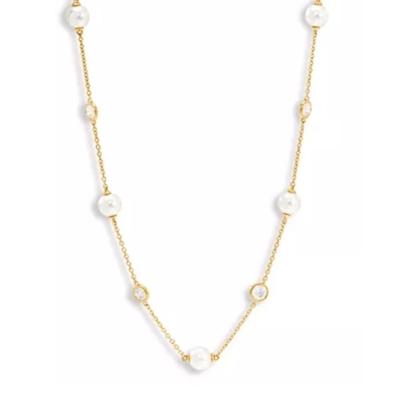 Picture of Nadri Camilia Pearl Station Necklace - Gold