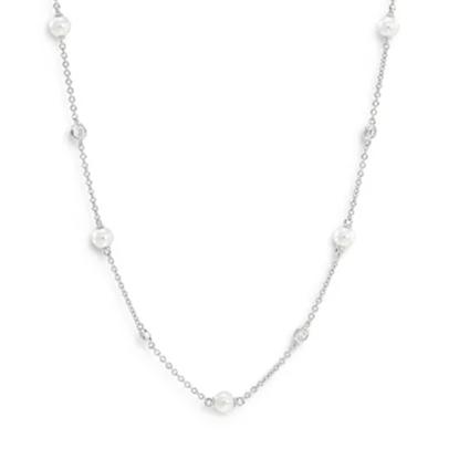 Picture of Nadri Emilia Pearl Station Necklace - Rhodium