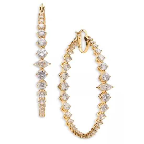 Picture of Nadri Leah Statement Hoop Earrings - Gold