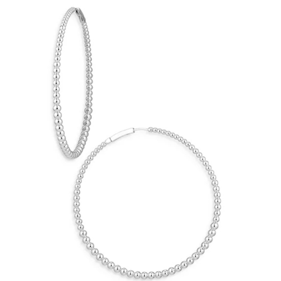 Picture of Nadri Large Dot Hoop Earrings - Rhodium