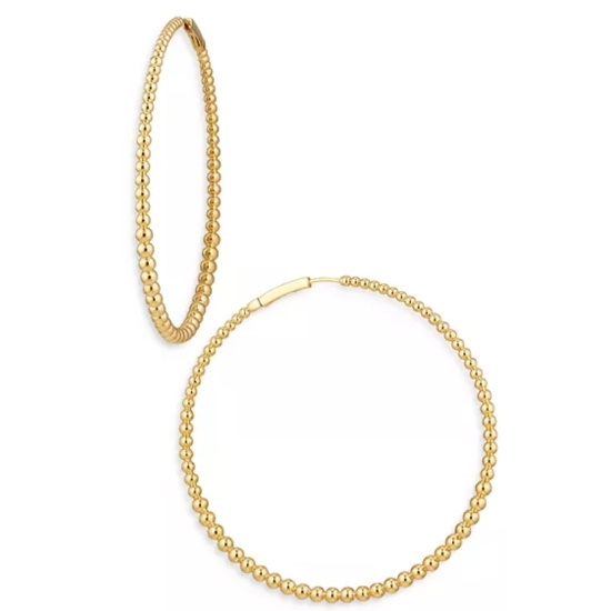 Picture of Nadri Large Dot Hoop Earrings - Gold