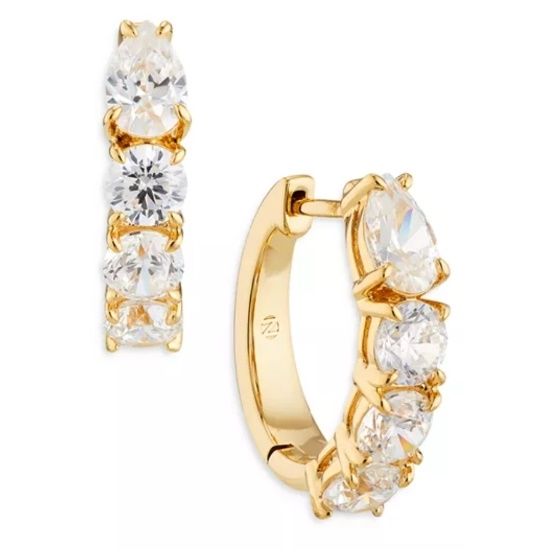 Picture of Nadri Stone Huggie Earrings - Gold