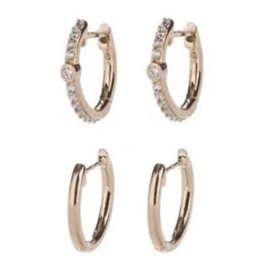 Picture of Nadri Pave Set of 2 Huggie Earrings - Gold