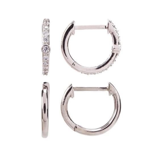 Picture of Nadri Pave Set of 2 Huggie Earrings - Rhodium