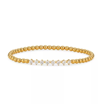 Picture of Nadri 3MM Beaded Ball Stretch Bracelet - Gold