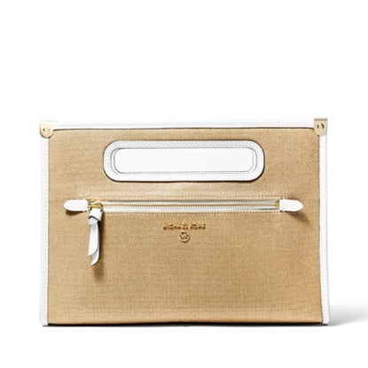 Picture of Michael Kors Jane Large Clutch - Optic White/Pale Gold