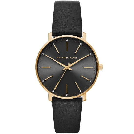 Picture of Michael Kors Pyper Three-Hand Gold-Tone & Black Leather Watch