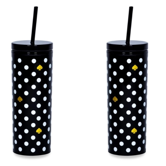 Picture of Kate Spade Set of 2 Tumblers with Straw - Polka Dots