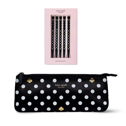 Picture of Kate Spade Pencil Case & Mechanical Pencils - Polka Dots
