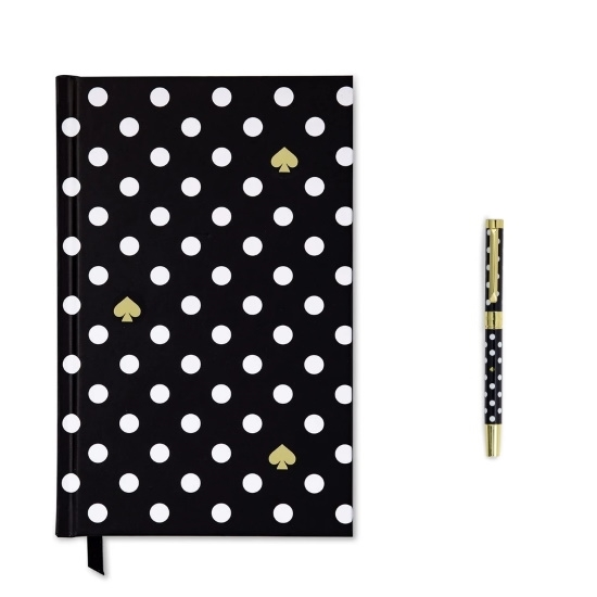 Picture of Kate Spade Paper-Covered Journal with Pen - Polka Dots