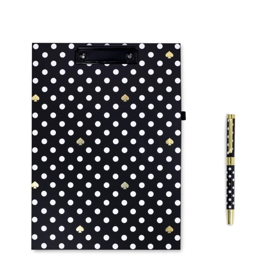 Picture of Kate Spade Clipboard Folio with Ballpoint Pen - Polka Dots
