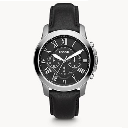 Picture of Fossil Grant Chronograph Black Leather Watch
