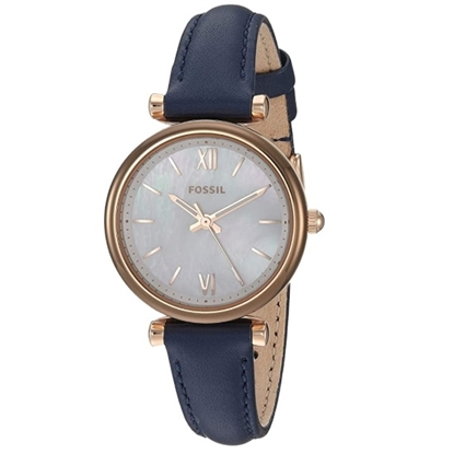 Picture of Fossil Carlie Mini Three-Hand Navy Leather Watch