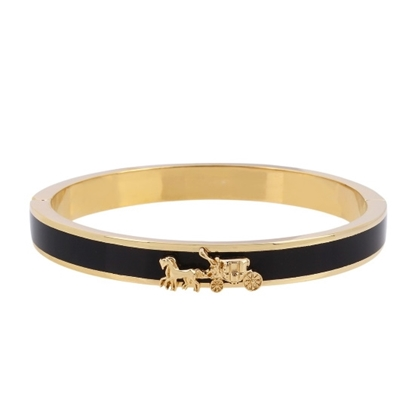 Picture of Coach Horse & Carriage Enamel Hinged Bangle - Black/Gold