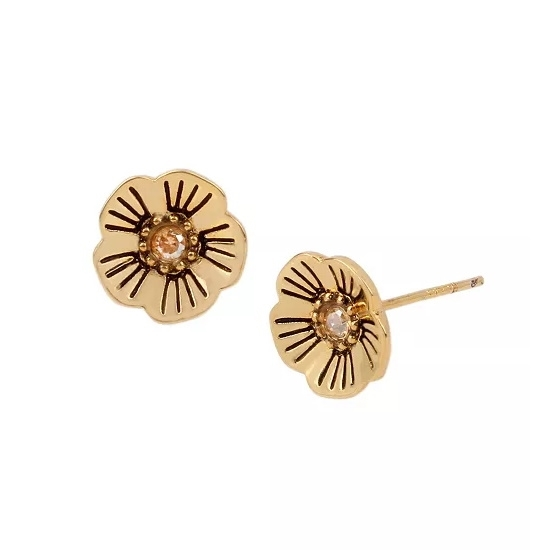 Picture of Coach Tea Rose Stud Earrings - Antique Gold