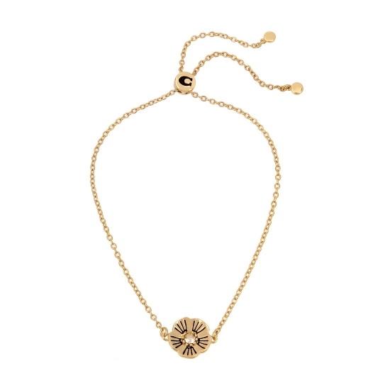 Picture of Coach Tea Rose Slider Bracelet - Antique Gold