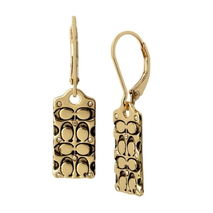 Picture of Coach Quilted Logo Leverback Earrings - Antique Gold