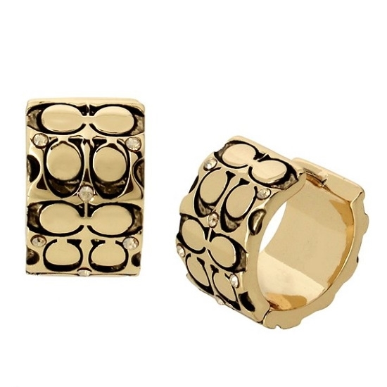Picture of Coach Quilted Logo Huggie Earrings - Antique Gold