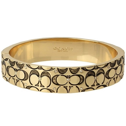 Picture of Coach Quilted Logo Hinged Bangle - Antique Gold