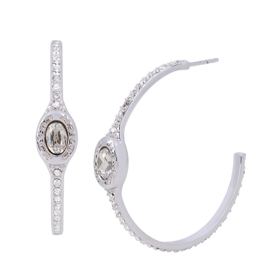 Picture of Coach Signature Logo Pave Hoop Earrings - Rhodium