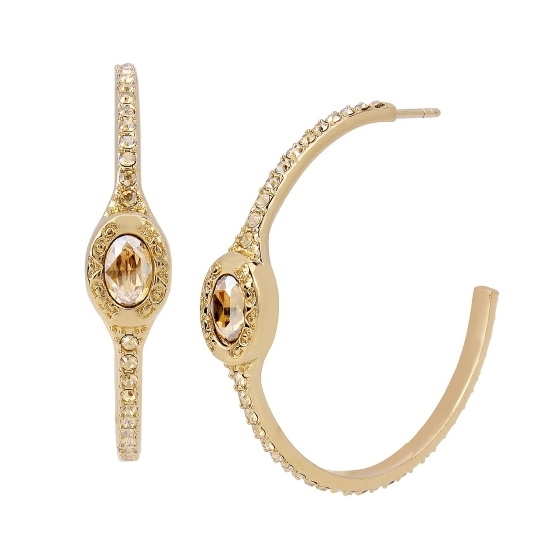 Picture of Coach Signature Logo Pave Hoop Earrings - Gold