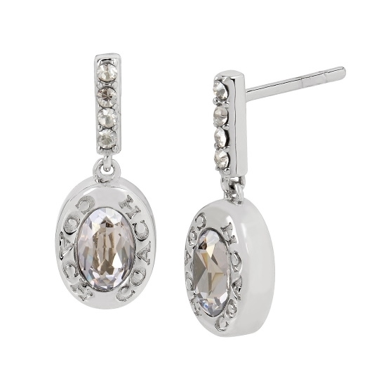 Picture of Coach Signature Logo Drop Earrings - Rhodium