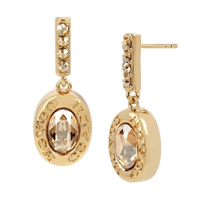 Picture of Coach Signature Logo Drop Earrings - Gold