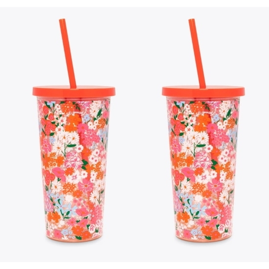 Picture of Ban.do Sip Sip Tumblers with Straw - Secret Garden