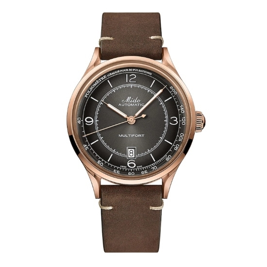 Picture of Mido Patrimony Watch with Brown Leather Strap & Black Dial