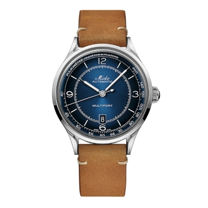 Picture of Mido Patrimony Watch with Brown Leather Strap & Blue Dial