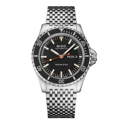 Picture of Mido Ocean Star Tribute Stainless Steel Watch with Black Dial