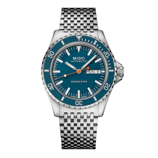 Picture of Mido Ocean Star Tribute Stainless Steel Watch with Blue Dial