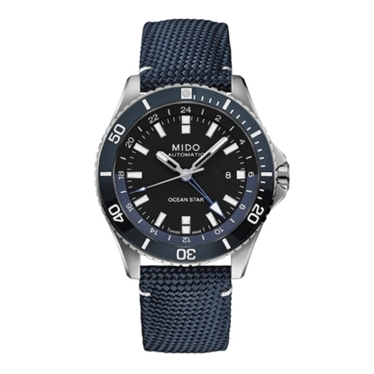 Picture of Mido Ocean Star GMT Watch with Blue Leather Strap & Black Dial