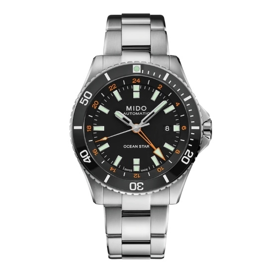 Picture of Mido Ocean Star GMT Stainless Steel Watch with Black Dial