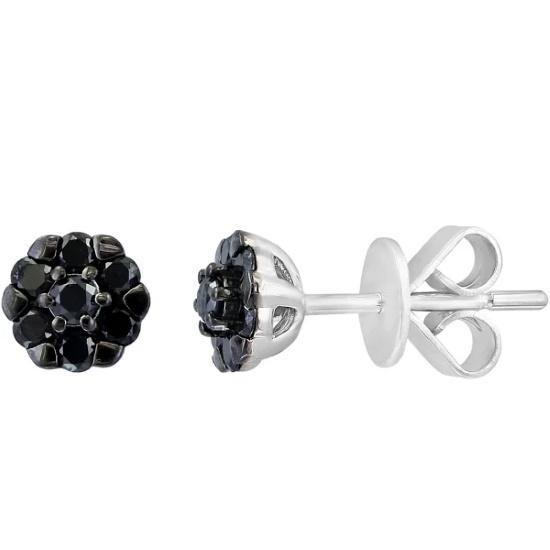 Picture of Lali 14K White Gold Black Diamond Stud Earrings