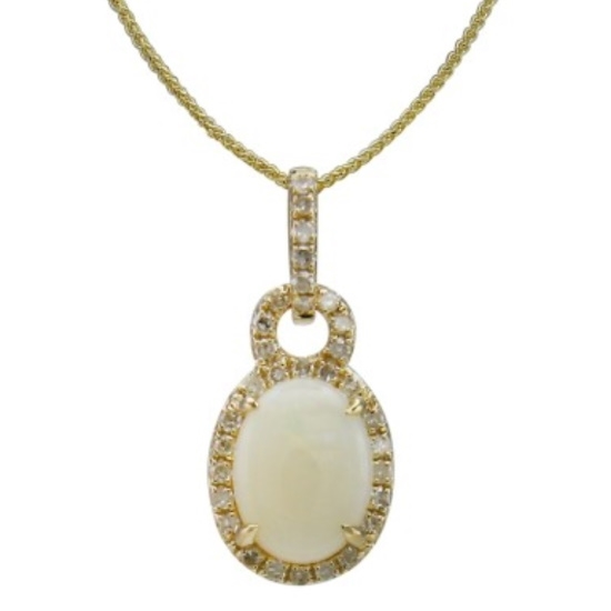 Picture of Lali 14K Yellow Gold Diamond & Opal Pendant