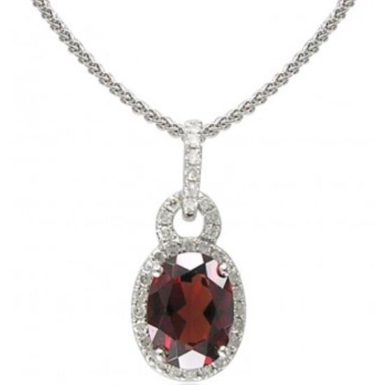 Picture of Lali 14K White Gold Diamond & Garnet Pendant